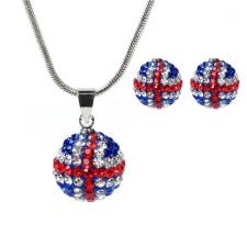 18 karátos fehérarannyal bevont brit zászlós ékszerszett kristályokkal  + AJÁNDÉK DÍSZDOBOZ egyéb ékszer