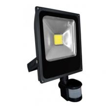20W mozgásérzékelős LED reflektor - fényvető (meleg fehér, 3 funkciós mozgásérzékelővel, FEKETE házas) biztonságtechnikai eszköz