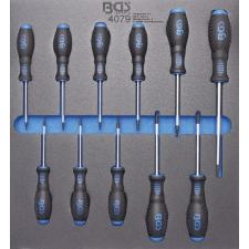 2/3 szerszámtálca szerszámkocsihoz: 11 részes Torx csavarhúzó készlettel, T6-T40 (BGS 4079) autójavító eszköz