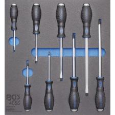 2/3 Szerszámtálca szerszámkocsihoz: 8 részes lapos és csillag csavarhúzó készlettel (BGS 4055) autójavító eszköz