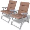 2 db összecsukható kerti szék párnával barna