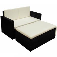 2 részes fekete polyrattan kerti bútorszett párnákkal kerti bútor