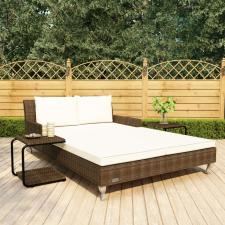 2-személyes barna polyrattan kerti napozóágy párnákkal kerti bútor