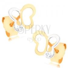 375 arany fülbevaló - két színű pillangó körvonal, átlátszó cirkónia fülbevaló