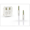 3,5 - 3,5 mm jack audio kábel 1 m-es lapos vezetékkel - fehér