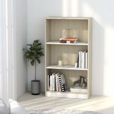 3-szintes fehér és sonoma forgácslap könyvszekrény 60x24x108 cm bútor