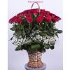 40 szálas, hosszúkás stílusú rózsakosár