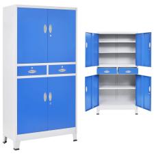 4 ajtós szürke/kék fém irodaszekrény 90 x 40 x 180 cm irodabútor