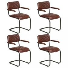 4 db barna valódi bőr étkezőszék karfával kerti bútor