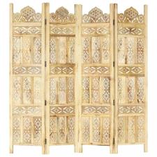 4-paneles tömör mangófa kézzel faragott térelválasztó 160x165cm bútor
