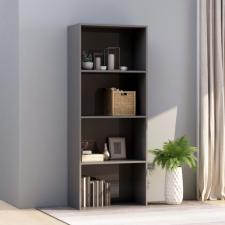 4-szintes fényes szürke forgácslap könyvszekrény 60x30x151,5 cm bútor