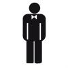 APLI férfi mosdó, öntapadó címke, 114 x 114 mm