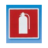 APLI Tűzoltó készülék, öntapadó címke, 114 x 114 mm