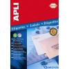 APLI 4 pályás átlátszó etikett 48 5 x 25 4 mm kerekített sarkú tintasugaras nyomtatóhoz 440 etikett/csomag 10 lap/csom