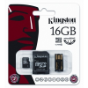 Kingston Micro SecureDigital memóriakártya 16GB (SDHC fogl) Class 10 USB adapterrel