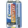 Conrad energy 9V akku NiMh 160 mAh