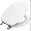 Wc Ülőke Tető Fa Fehér szín Kagyló formájú Fedő fém zsanérral