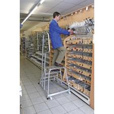 KRAUSE Szerelődobogó, 4 lépcsőfokos, alumínium, gurítható, KRAUSE létra és állvány