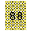 APLI Etikett, 16 mm kör, színes, A5 hordozón, APLI, sárga, 704 etikett/csomag
