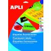 APLI Etikett, 64x33,9 mm, színes, kerekített sarkú, APLI, neon sárga, 480 etikett/csomag