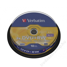 Verbatim DVD+RW lemez, újraírható, 4,7GB, 4x, hengeren, VERBATIM (DVDVU+4B10) írható és újraírható média