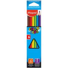 MAPED Color`Peps színes ceruza készlet, háromszögletű, 6 különböző szín színes ceruza