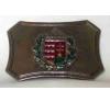 Színes címeres övcsat (ezüst színű fém, 8x5,5 cm) ajándéktárgy