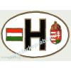 Öntapadó papír matrica, ovális H betűs, zászlós, címeres külső 12x8 cm