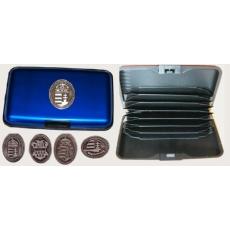Bankkártya tartó metál kék színű ón Kossuth címer matricával