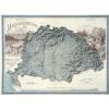Magyarország hegyrajzi és vízrajzi térképe (Pokorny Tódor 1898) dombor műanyag 59x45 cm reprint