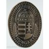 Koszorús címeres ovális ón hűtőmágnes 6X4,5 cm