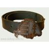 Nagy-Magyarországos bronz színű övcsat bőrszíjjal (barna színű bőröv)