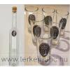 Ón címeres hosszú pálinkás üveg, 6db ón címeres pálnikás pohárral