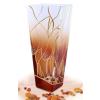 LORENTINA Váza, üveg, 20 cm, rombusz,  LORENTINA, arany rajzos