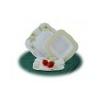 . Mélytányér, porcelán, négyszögletes, 23 cm, ROTBERG, zöld virágos