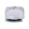 . Kínálótál, porcelán, négyszögletes, 33 cm, ROTBERG, zöld virágos