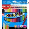 Színes ceruza készlet, háromszögletű, MAPED Color`Peps, 48 különböző szín