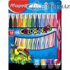 Filctoll készlet, 2,8 mm, kimosható, MAPED Color`Peps Jungle, 12 különböző szín