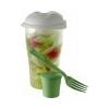 . Salátás mixer, fedéllel, salátaöntet tartóval és villával, világoszöld