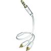 Audio elosztókábel 3,5mm-es sztereó jack - 2db RCA dugó 3m fehér Inakustik