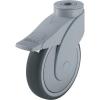 Blickle Blickle 743103 125 mm-es formatervezett műanyag görgő rögzítő fékkel, WAVE Kivitel Terelő görgő hátsó furattal és rögzítő fékkel