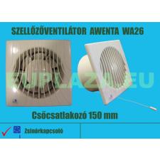 Ventilátor, Awenta WM100, szellőzőventilátor, fali, zsalus, elszívó ventilátor, csőcsatlakozó 100 mm barkácsolás, csiszolás, rögzítés