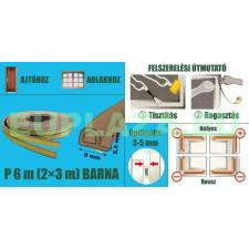 Ablakszigetelő, ajtószigetelő, öntapadó tömítőprofil, P, barna, 9 x 5,5 mm x 6 m barkácsolás, csiszolás, rögzítés