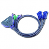 ATEN CS62S 2-Port PS/2 KVM Switch All-in-one design  0.9m cables