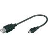 USB 2.0 kábel, A típusú aljról mini B típusú dugóra, 0,2 m, fekete