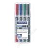 STAEDTLER Alkoholos marker készlet, F/M, 0,6/1,5 mm, kúpos, kétvégű, STAEDTLER Lumocolor Duo, 4 különböző szín (TS348WP4)