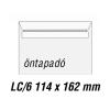 SilverBall Boríték LC6 öntapadó BÉLÉSNYOMATLAN 114x162mm SilverBall  <1000db/dob>