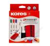 KORES Tábla- és flipchart marker készlet mágneses táblatörlő szivaccsal, 1-3 mm, kúpos KORES, 4 különböző szín (IK20863) filctoll, marker