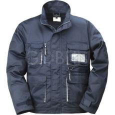 Coverguard NAVY sötétkék munkaruházat szürke díszítéssel, kabát, dzsekifazonú, rejtett...