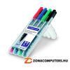 """Alkoholos marker készlet, OHP, 0,6 mm, STAEDTLER """"Lumocolor 318 F"""", 4 különböző szín (TS318WP4)"""